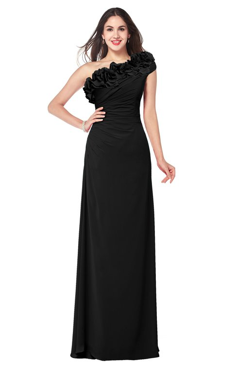 ColsBM Jazlyn Black Bridesmaid Dresses Elegant Floor Length Half Backless Asymmetric Neckline Sleeveless Flower