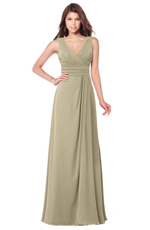 ColsBM Madisyn Candied Ginger Bridesmaid Dresses Sleeveless Half Backless Sexy A-line Floor Length V-neck
