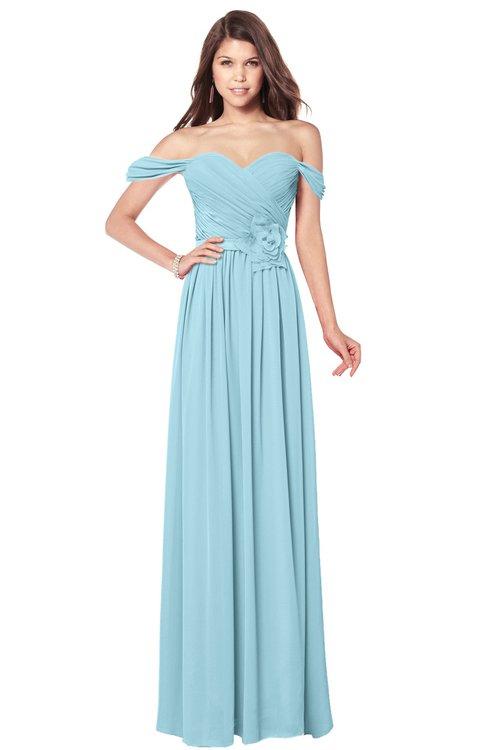 ColsBM Kaolin Aqua Bridesmaid Dresses A-line Floor Length Zip up Short Sleeve Appliques Gorgeous
