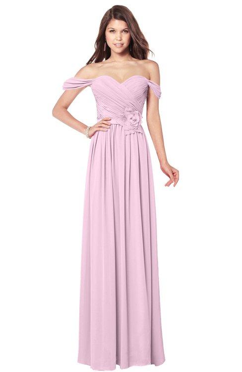 ColsBM Kaolin Baby Pink Bridesmaid Dresses A-line Floor Length Zip up Short Sleeve Appliques Gorgeous