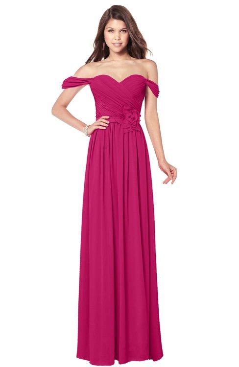 ColsBM Kaolin Beetroot Purple Bridesmaid Dresses A-line Floor Length Zip up Short Sleeve Appliques Gorgeous
