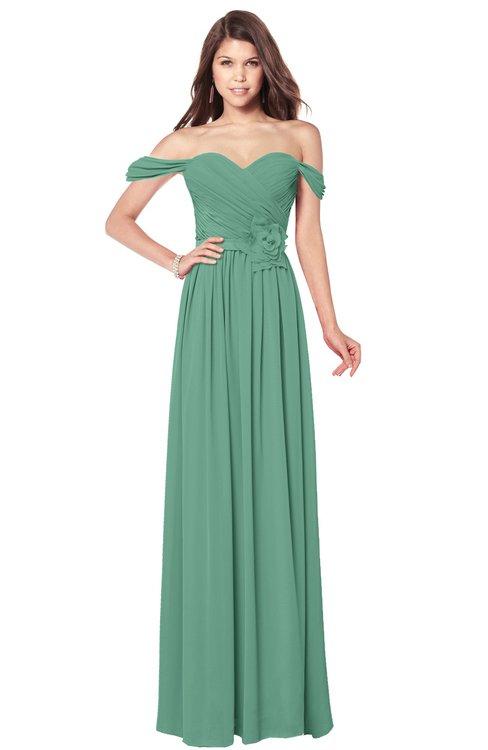 ColsBM Kaolin Beryl Green Bridesmaid Dresses A-line Floor Length Zip up Short Sleeve Appliques Gorgeous