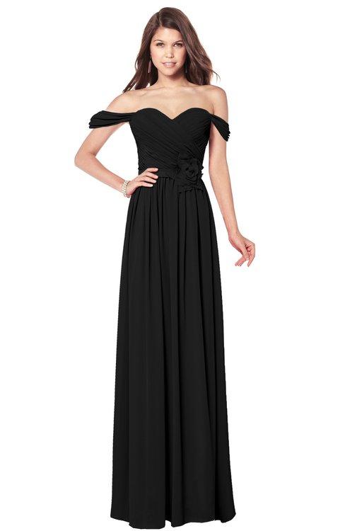 ColsBM Kaolin Black Bridesmaid Dresses A-line Floor Length Zip up Short Sleeve Appliques Gorgeous