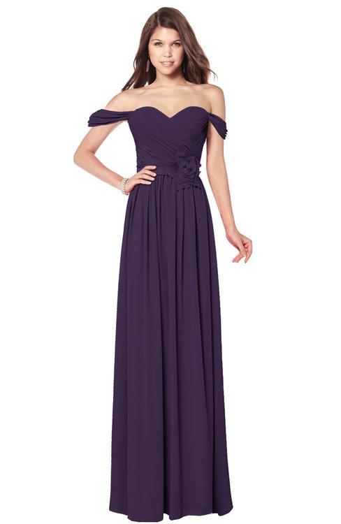 ColsBM Kaolin Blackberry Cordial Bridesmaid Dresses A-line Floor Length Zip up Short Sleeve Appliques Gorgeous