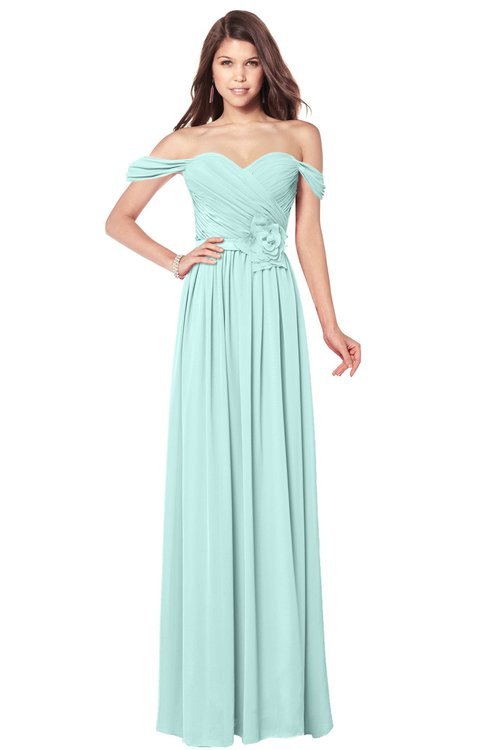 ColsBM Kaolin Blue Glass Bridesmaid Dresses A-line Floor Length Zip up Short Sleeve Appliques Gorgeous