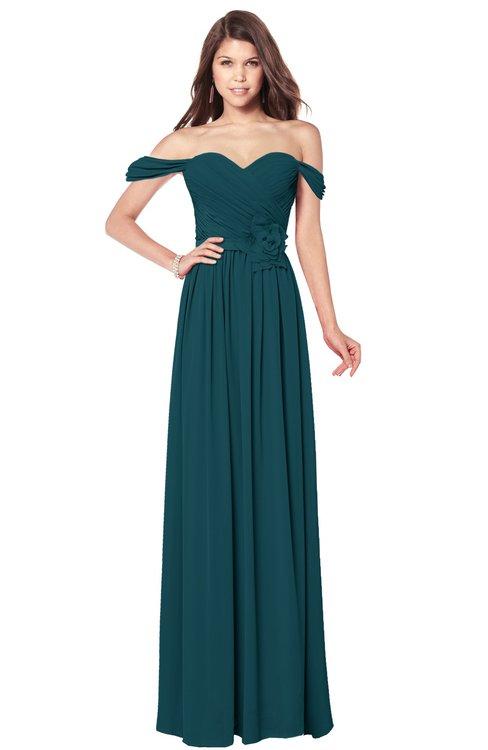 ColsBM Kaolin Blue Green Bridesmaid Dresses A-line Floor Length Zip up Short Sleeve Appliques Gorgeous