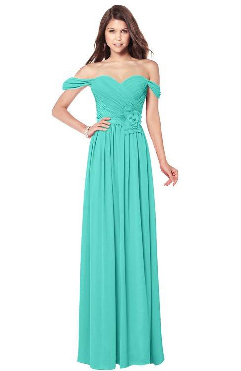 ColsBM Kaolin Blue Turquoise Bridesmaid Dresses A-line Floor Length Zip up Short Sleeve Appliques Gorgeous