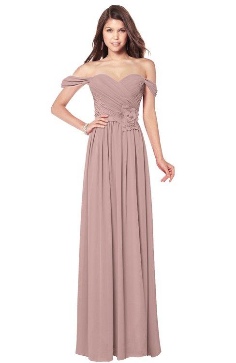 ColsBM Kaolin Blush Pink Bridesmaid Dresses A-line Floor Length Zip up Short Sleeve Appliques Gorgeous