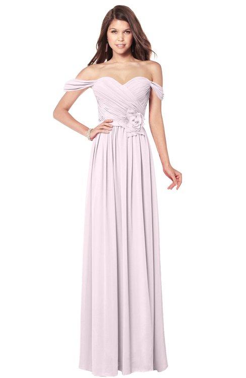 ColsBM Kaolin Blush Bridesmaid Dresses A-line Floor Length Zip up Short Sleeve Appliques Gorgeous