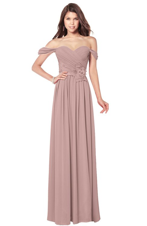 ColsBM Kaolin Bridal Rose Bridesmaid Dresses A-line Floor Length Zip up Short Sleeve Appliques Gorgeous