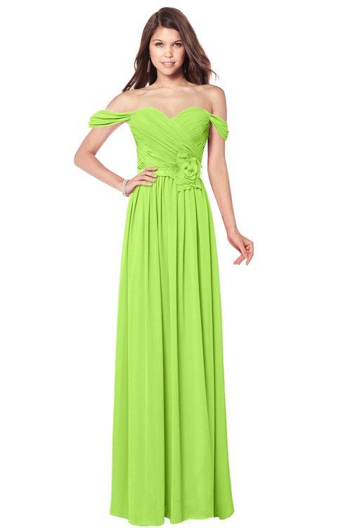 ColsBM Kaolin Bright Green Bridesmaid Dresses A-line Floor Length Zip up Short Sleeve Appliques Gorgeous