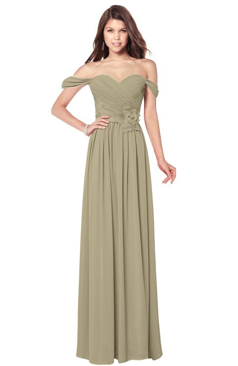 ColsBM Kaolin Candied Ginger Bridesmaid Dresses A-line Floor Length Zip up Short Sleeve Appliques Gorgeous