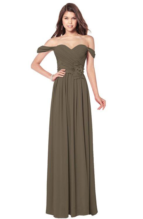 ColsBM Kaolin Carafe Brown Bridesmaid Dresses A-line Floor Length Zip up Short Sleeve Appliques Gorgeous