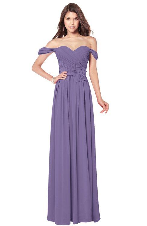 ColsBM Kaolin Chalk Violet Bridesmaid Dresses A-line Floor Length Zip up Short Sleeve Appliques Gorgeous
