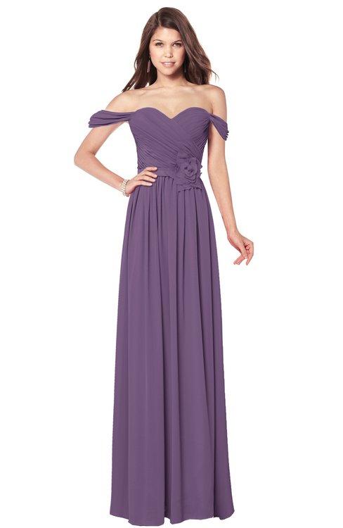 ColsBM Kaolin Chinese Violet Bridesmaid Dresses A-line Floor Length Zip up Short Sleeve Appliques Gorgeous