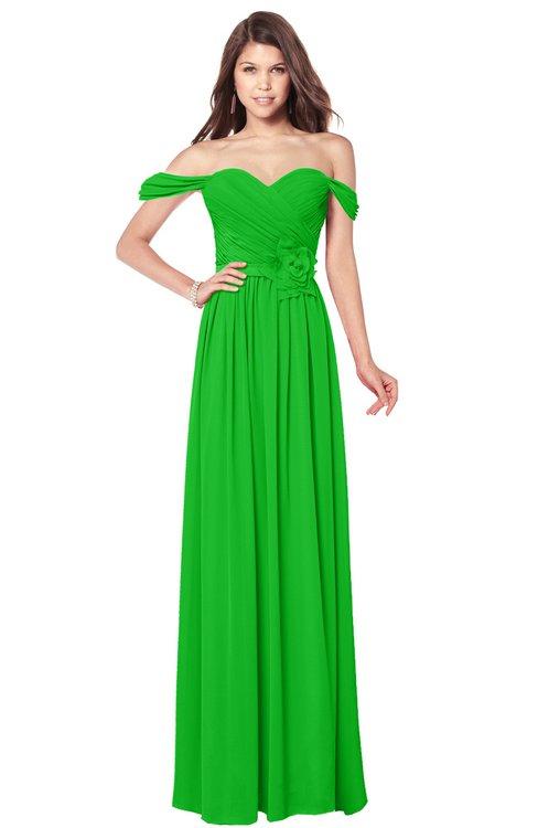 ColsBM Kaolin Classic Green Bridesmaid Dresses A-line Floor Length Zip up Short Sleeve Appliques Gorgeous