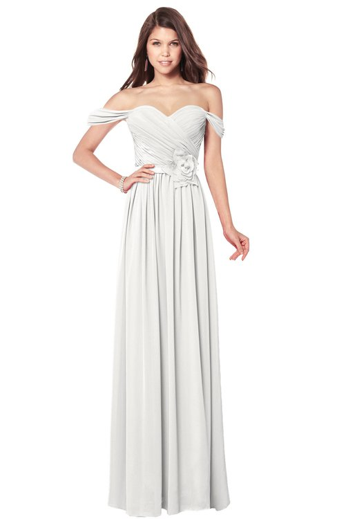 ColsBM Kaolin Cloud White Bridesmaid Dresses A-line Floor Length Zip up Short Sleeve Appliques Gorgeous
