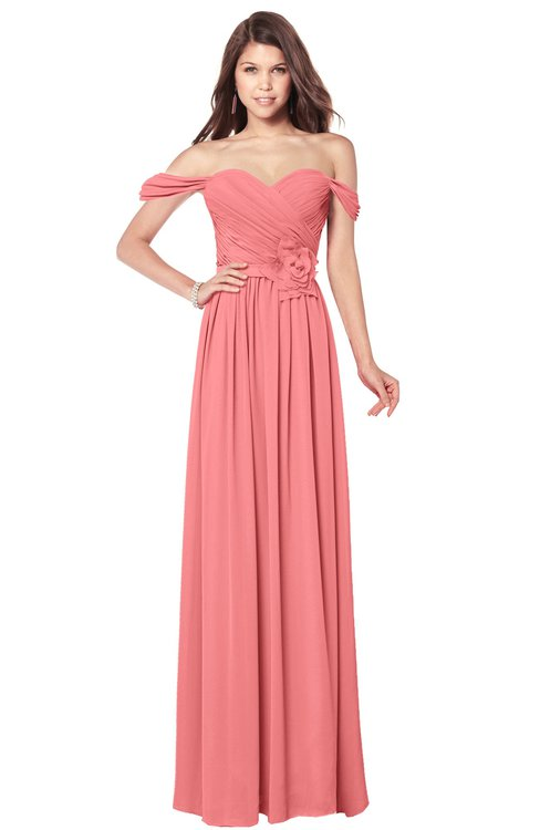ColsBM Kaolin Coral Bridesmaid Dresses A-line Floor Length Zip up Short Sleeve Appliques Gorgeous