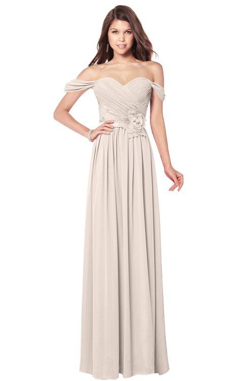ColsBM Kaolin Cream Pink Bridesmaid Dresses A-line Floor Length Zip up Short Sleeve Appliques Gorgeous