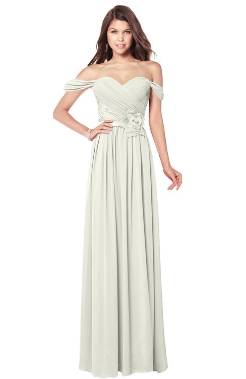 ColsBM Kaolin Cream Bridesmaid Dresses A-line Floor Length Zip up Short Sleeve Appliques Gorgeous