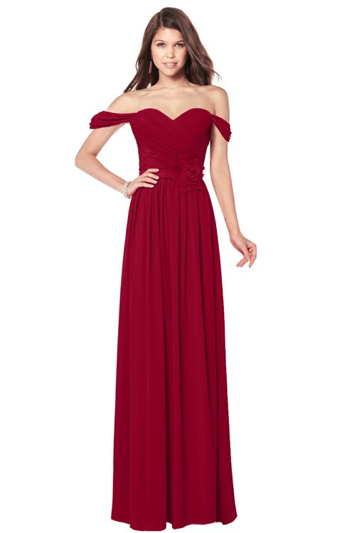ColsBM Kaolin Dark Red Bridesmaid Dresses A-line Floor Length Zip up Short Sleeve Appliques Gorgeous
