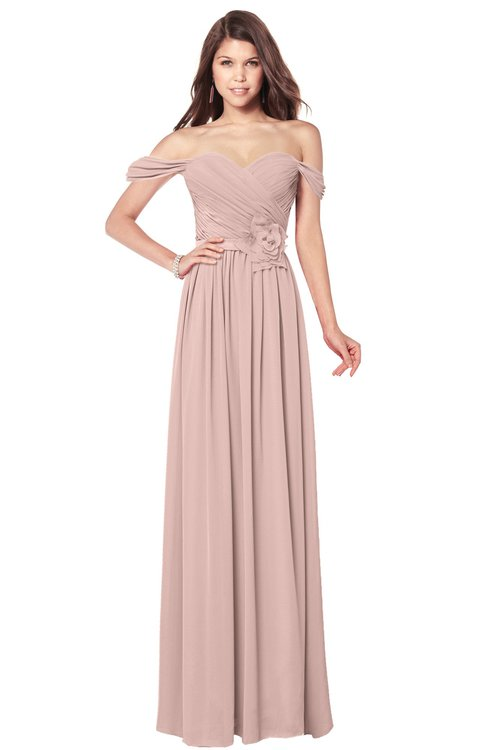 ColsBM Kaolin Dusty Rose Bridesmaid Dresses A-line Floor Length Zip up Short Sleeve Appliques Gorgeous