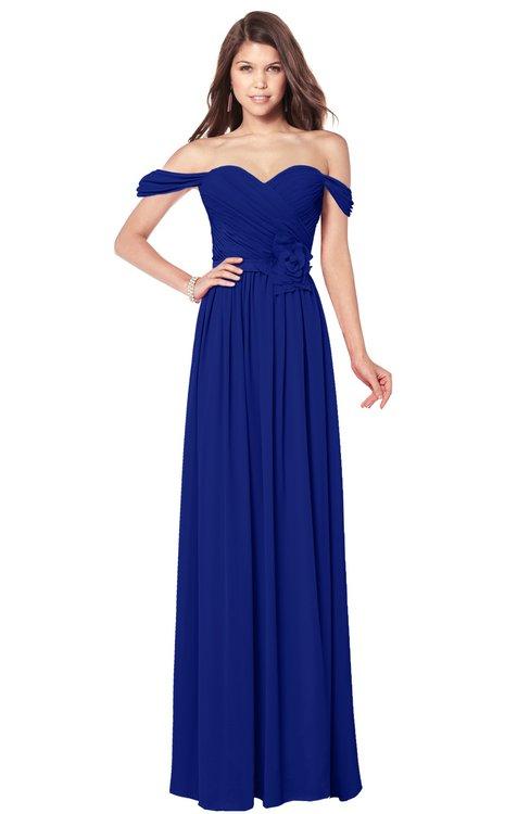 ColsBM Kaolin Electric Blue Bridesmaid Dresses A-line Floor Length Zip up Short Sleeve Appliques Gorgeous
