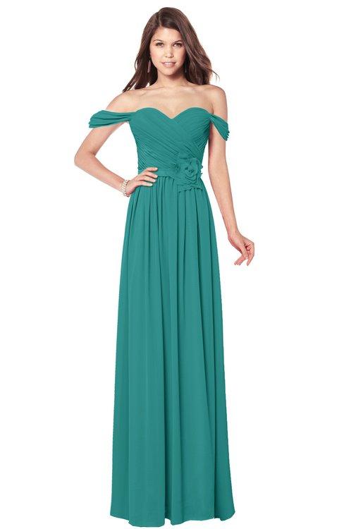 ColsBM Kaolin Emerald Green Bridesmaid Dresses A-line Floor Length Zip up Short Sleeve Appliques Gorgeous