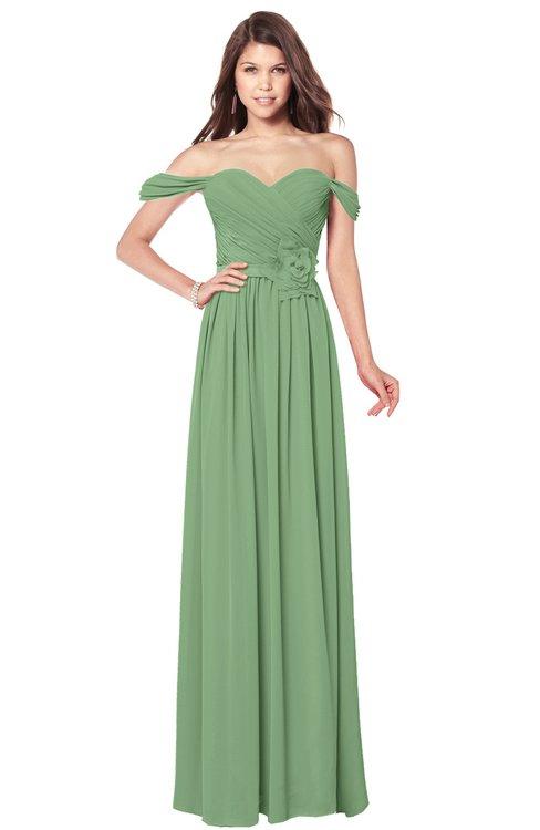 ColsBM Kaolin Fair Green Bridesmaid Dresses A-line Floor Length Zip up Short Sleeve Appliques Gorgeous