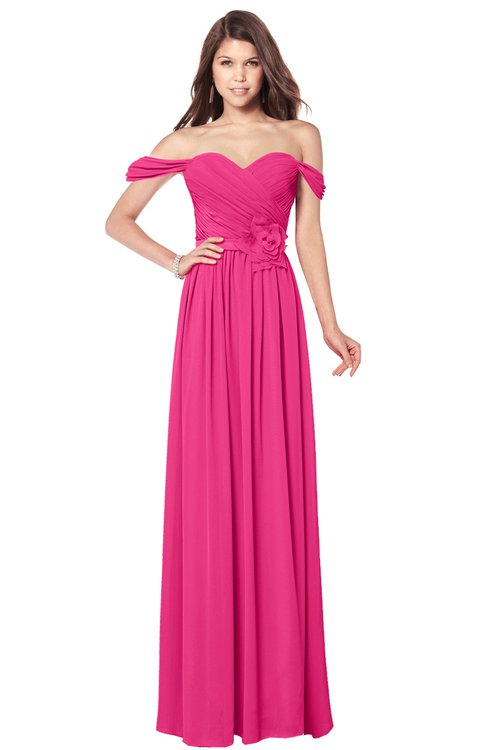 ColsBM Kaolin Fandango Pink Bridesmaid Dresses A-line Floor Length Zip up Short Sleeve Appliques Gorgeous