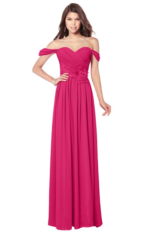 ColsBM Kaolin Fuschia Bridesmaid Dresses A-line Floor Length Zip up Short Sleeve Appliques Gorgeous