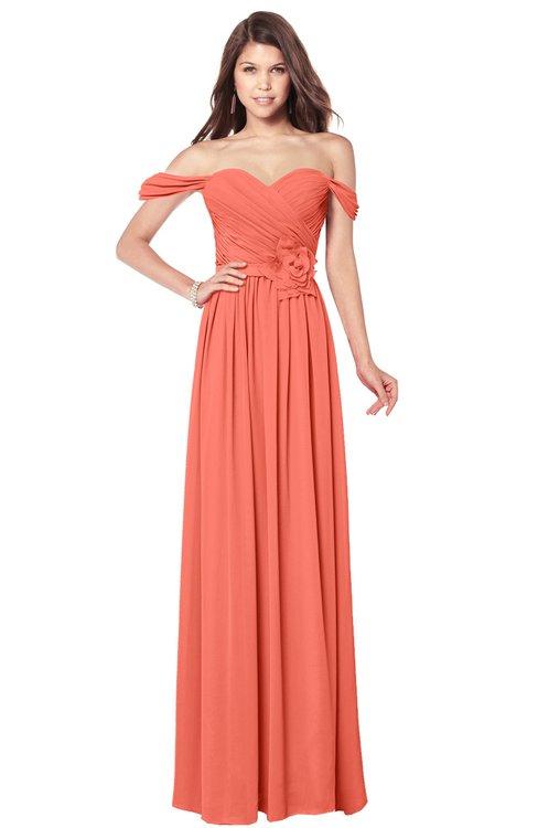 ColsBM Kaolin Fusion Coral Bridesmaid Dresses A-line Floor Length Zip up Short Sleeve Appliques Gorgeous