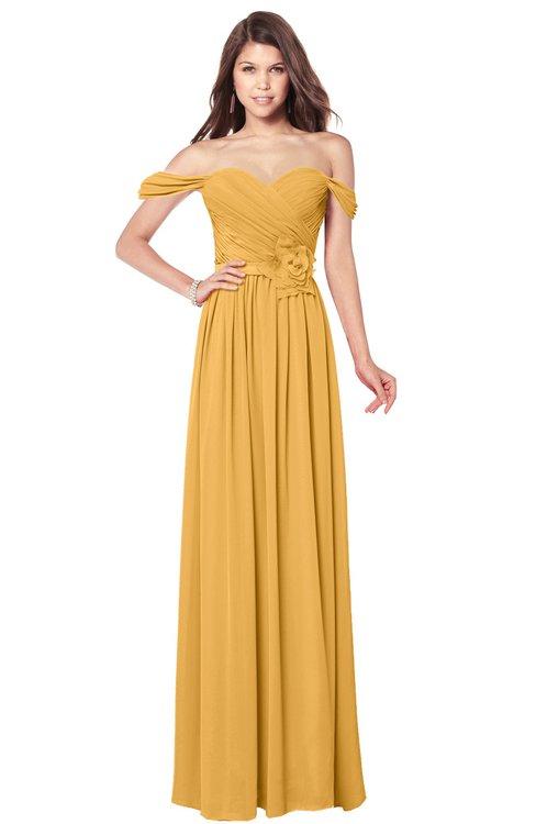 ColsBM Kaolin Golden Cream Bridesmaid Dresses A-line Floor Length Zip up Short Sleeve Appliques Gorgeous