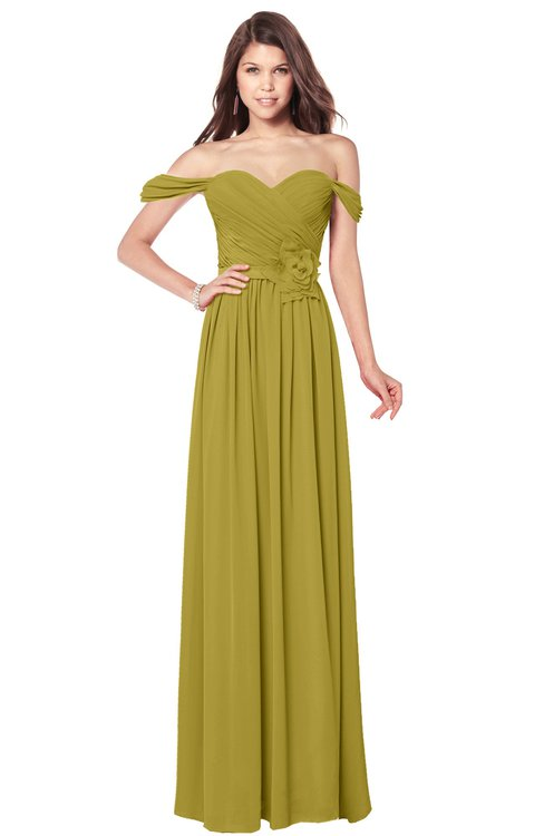 ColsBM Kaolin Golden Olive Bridesmaid Dresses A-line Floor Length Zip up Short Sleeve Appliques Gorgeous