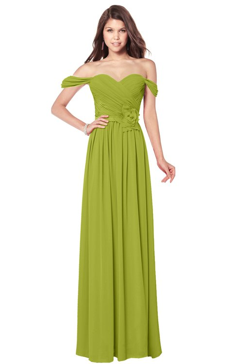 ColsBM Kaolin Green Oasis Bridesmaid Dresses A-line Floor Length Zip up Short Sleeve Appliques Gorgeous