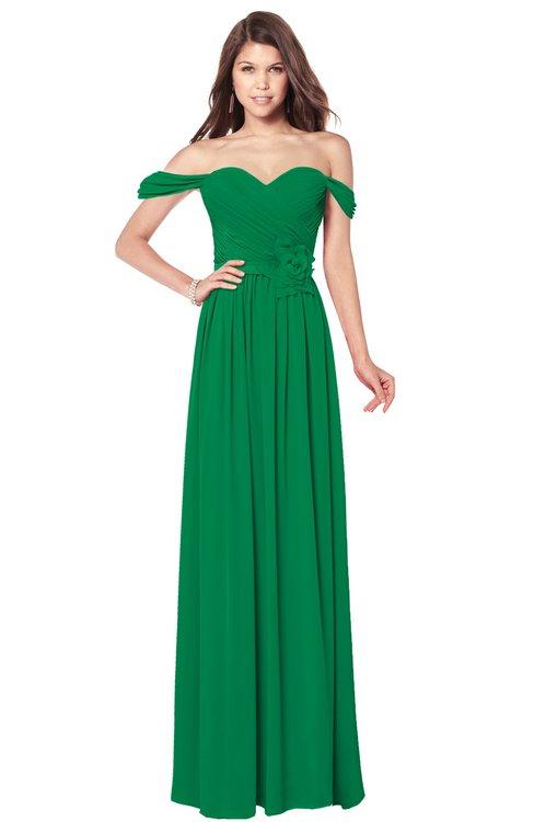 ColsBM Kaolin Green Bridesmaid Dresses A-line Floor Length Zip up Short Sleeve Appliques Gorgeous