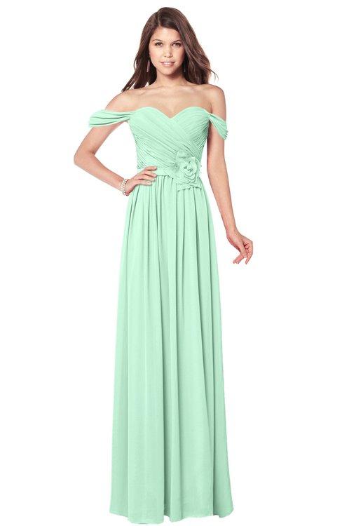 ColsBM Kaolin Honeydew Bridesmaid Dresses A-line Floor Length Zip up Short Sleeve Appliques Gorgeous