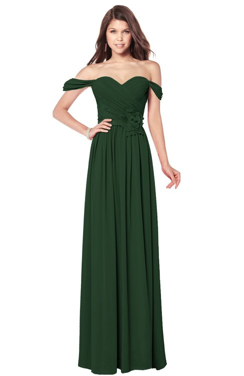ColsBM Kaolin Hunter Green Bridesmaid Dresses A-line Floor Length Zip up Short Sleeve Appliques Gorgeous