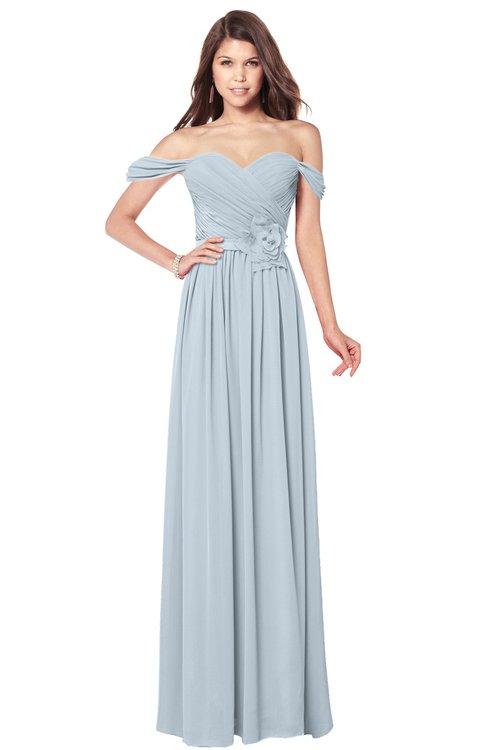 ColsBM Kaolin Illusion Blue Bridesmaid Dresses A-line Floor Length Zip up Short Sleeve Appliques Gorgeous