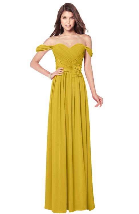 ColsBM Kaolin Lemon Curry Bridesmaid Dresses A-line Floor Length Zip up Short Sleeve Appliques Gorgeous
