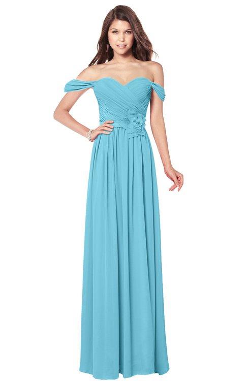 ColsBM Kaolin Light Blue Bridesmaid Dresses A-line Floor Length Zip up Short Sleeve Appliques Gorgeous