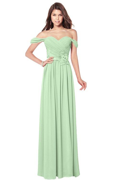 ColsBM Kaolin Light Green Bridesmaid Dresses A-line Floor Length Zip up Short Sleeve Appliques Gorgeous