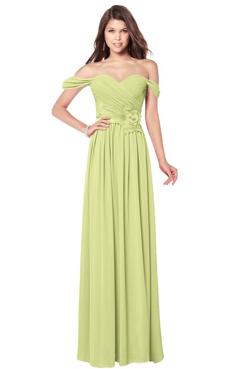 ColsBM Kaolin Lime Sherbet Bridesmaid Dresses A-line Floor Length Zip up Short Sleeve Appliques Gorgeous