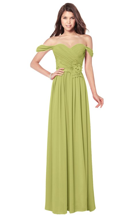 ColsBM Kaolin Linden Green Bridesmaid Dresses A-line Floor Length Zip up Short Sleeve Appliques Gorgeous