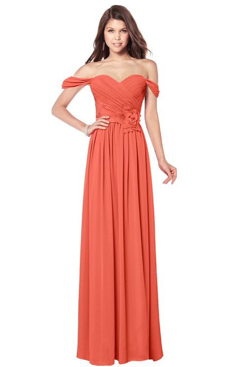 ColsBM Kaolin Living Coral Bridesmaid Dresses A-line Floor Length Zip up Short Sleeve Appliques Gorgeous