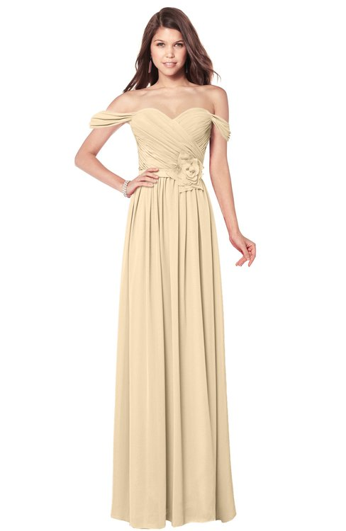 ColsBM Kaolin Marzipan Bridesmaid Dresses A-line Floor Length Zip up Short Sleeve Appliques Gorgeous