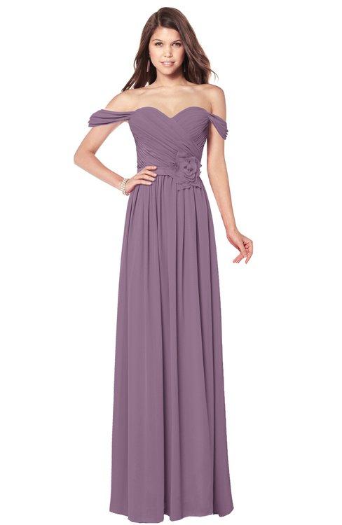 ColsBM Kaolin Mauve Bridesmaid Dresses A-line Floor Length Zip up Short Sleeve Appliques Gorgeous