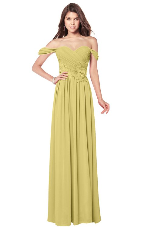 ColsBM Kaolin Misted Yellow Bridesmaid Dresses A-line Floor Length Zip up Short Sleeve Appliques Gorgeous