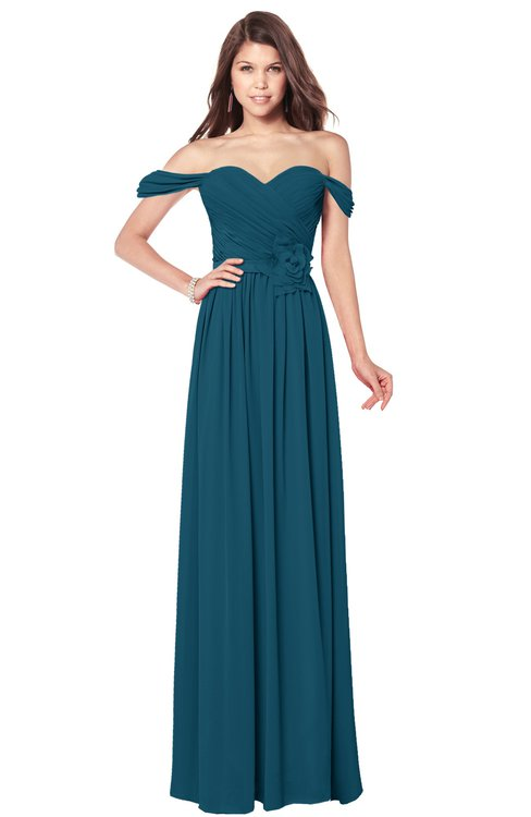 ColsBM Kaolin Moroccan Blue Bridesmaid Dresses A-line Floor Length Zip up Short Sleeve Appliques Gorgeous