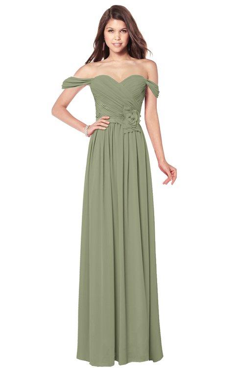 ColsBM Kaolin Moss Green Bridesmaid Dresses A-line Floor Length Zip up Short Sleeve Appliques Gorgeous